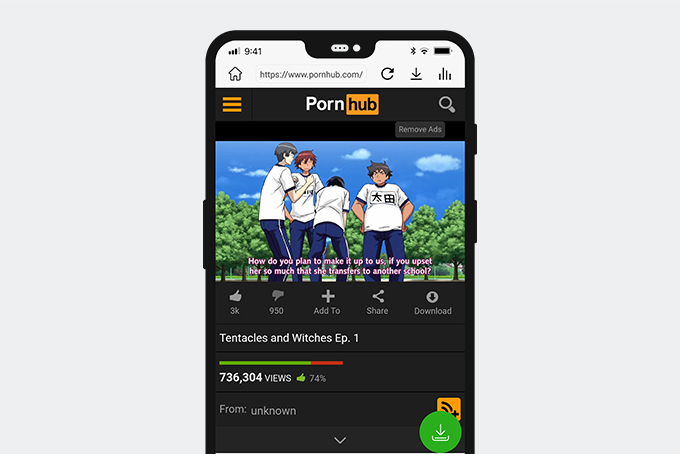 Download Pornhub video on Android